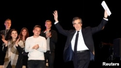 Francois Fillon, a former French prime minister, member of the Republican political party and 2017 presidential election candidate of the French center-right, attends a campaign rally in Toulon, France, March 31, 2017.