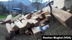 جنگلات سے کاٹی جانے والی عمارتی اور تجارتی لکڑی،