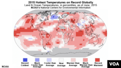 NOAA, 2015 Hottest Temperatures on Record, Globally