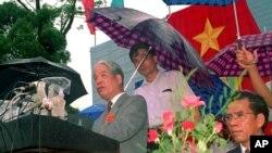 Tổng Bí Thư Đỗ Mười phát biểu tại lễ kỷ niệm ở Tân Trào, 16/08/1995.