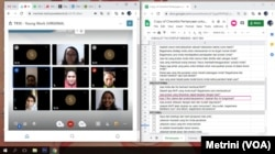 Satu Tampa mentoring startup online dalam tangkapan layar. (Foto: VOA/Metrinini G)