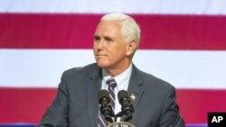 El vicepresidente de Estados Unidos, Mike Pence, interviene en un acto de campaña en favor de la senadora republicana Cathy McMorris Rodgers en el Spokane Convention Center, en Spokane, estado de Washington, el 2 de octubre de 2018.