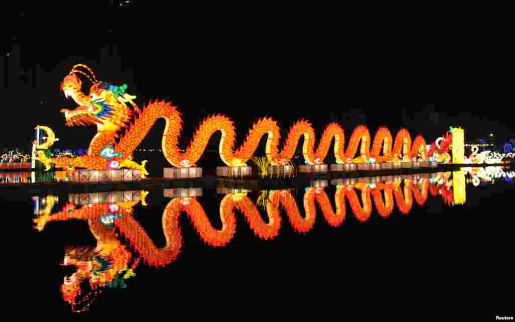 A lantern installation of a dragon is displayed during a lighting test ahead of the park's lantern festival, in Nanchang, Jiangxi Province, China.
