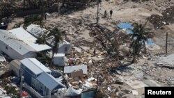 佛罗里达一个被飓风摧毁的拖车住房公园 (2017年9月13日)