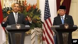 奧巴馬與印尼總統蘇西洛舉行聯合記者會