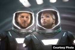 "Jennifer Lawrence and Chris Pratt in a scene from ""Passengers"" (Photo courtesy Sony Pictures)"