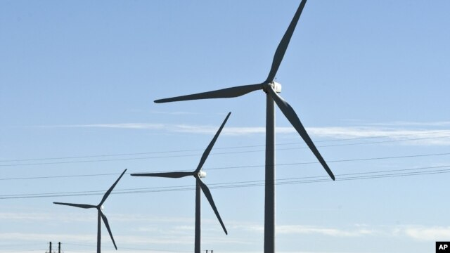 A wind farm in Shangyi, Hebei, China, Sept. 8, 2009 file photo.