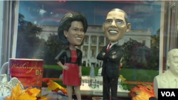 Items related to President Barack Obama and First Lady Michelle Obama have been hot sellers in Washington D.C. (VOA)