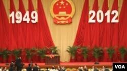 中国领导人在2012年10月1日庆祝中共成立中华人民共和国63周年(美国之音东方拍摄)
