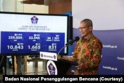 Juru bicara pemerintah untuk penanganan Covid-19, Dr. Achmad Yurianto, saat memberi keterangan pers, Sabtu, 2 Mei 2020. (Foto: Badan Nasional Penanggulangan Bencana)