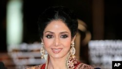 Indian actress Sridevi arrives at the Marrakech International Film Festival in Marrakech, at the Marrakech Congress Palace.