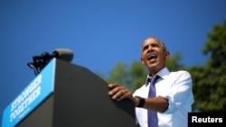美國總統奧巴馬星期二在費城舉行的民主黨競選活動。