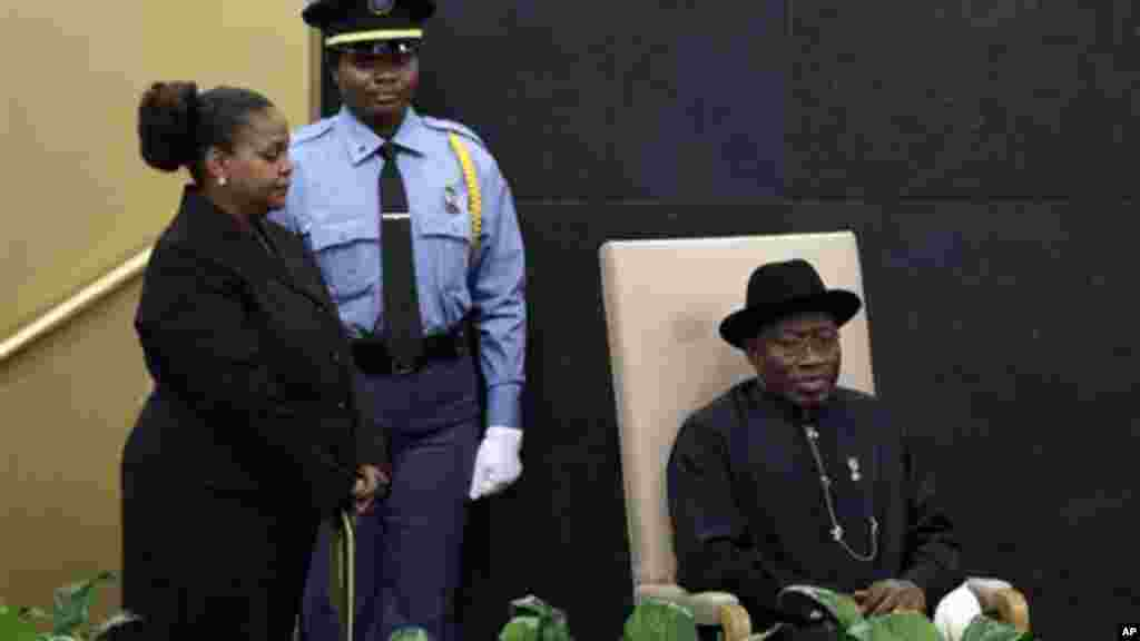 Nigeria's President Goodluck Jonathan prepares to address the 68th session of the United Nations General Assembly, Tuesday, Sept. 24, 2013.