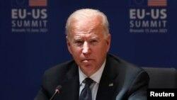 Presiden AS Joe Biden di Brussel, Belgia Selasa 15 Juni 2021.
