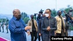 Perezida Paul Kagame na mugenzi we wa Kongo Felix Tshisekedi