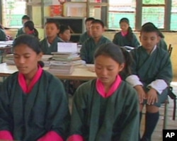 Morning meditation at a Bhutan public school classroom