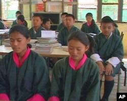 Morning meditation at a Bhutan public school classroom