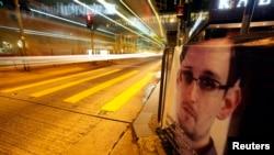 斯诺登的照片在香港街头