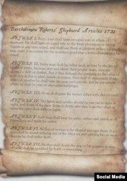 Bartolomey Robertsin pirat gəmisinin qaydaları, 1721.