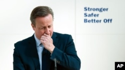 Britain's Prime Minister David Cameron gives a speech agruing that Britain is safer in the EU.