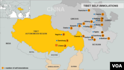 Bản đồ các vụ tự thiêu ở Tây Tạng tính tới ngày 26/11/2012.