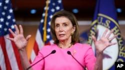 Speaker of the House Nancy Pelosi, D-Calif., updates reporters on Democratic efforts to pass President Joe Biden's 'Build Back Better' agenda, at the Capitol in Washington, Sept. 23, 2021.