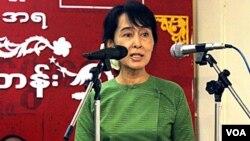 Pemimpin oposisi Birma, Aung San Suu Kyi. Pemerintah AS menilai penindasan partai-partai oposisi masih terus berlangsung di Birma.