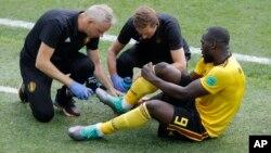 L'attaquant belge Romelu Lukaku, auteur d'un doublé lors de la victoire 5 à 2 contre la Tunisie samedi, pour le groupe G du Mondial-2018, Mascou, 22 juin 2018.