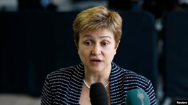 European Commissioner for International Cooperation, Humanitarian Aid and Crisis Response Kristalina Georgieva speaks as she arrives at an European Union foreign ministers meeting in Luxembourg, April 22, 2013.