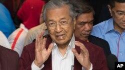 馬來西亞前總理馬哈蒂爾在大選後舉行記者會。(2018年5月9日)