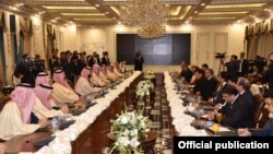 Prime Minister Imran Khan and Crown Prince Mohammad Bin Salman co-chairing the 1st Pakistan Saudi Arabia Coordination Council Meeting at Islamabad 17 February 2019