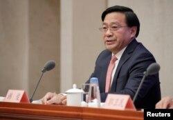 美中貿易談判中方團隊成員、中國農業部副部長韓俊在北京出席相關美中貿易談判的記者會。(2019年12月13日)