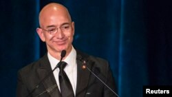 FILE - Blue Origin owner and Amazon.com founder Jeff Bezos.
