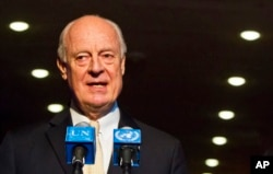 FILE - U.N. Special Envoy for Syria Staffan de Mistura speaks during a news conference, Nov. 19, 2015, at U.N. headquarters.