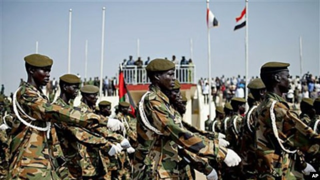 Soliders of the Sudan People's Liberation Army march during a rehearsal for Saturday's independence celebrations for the new Republic of South Sudan, in the southern capital of Juba, July 5, 2011
