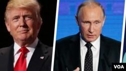 Prezidan eli Lèzetazini an, Donald Trump (agoch), epi Vladimir Putin.