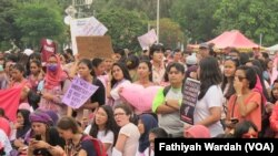 Aksi Women's March di Jakarta, Sabtu, 4 Maret 2017.