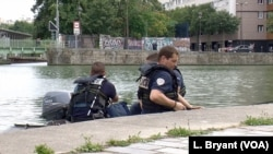 Police out on a patrol at La Villette in northeastern Paris.
