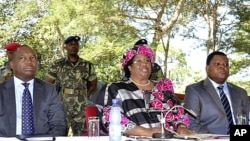 Joyce Banda, then vice president, addressed a media conference in the capital Lilongwe, April 7, 2012.