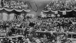 Theodore Roosevelt at what appears to be the first Progressive Party Convention. They met in August 1912 in Chicago, Illinois, and nominated him to run for president.