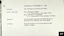 Photo shows the last White House appointment book entry for President John F. Kennedy, Nov. 21, 1963.