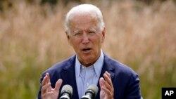 លោក Joe Biden បេក្ខជនប្រធានាធិបតីអាមេរិកខាងគណបក្សប្រជាធិបតេយ្យ ថ្លែងនៅក្នុងសន្និសីទសារព័តមានមួយ នៅទីក្រុង Wilmington រដ្ឋ Delaware កាលពីថ្ងៃទី១៤ ខែកញ្ញា ឆ្នាំ២០២០។