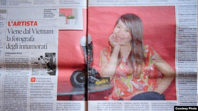 Bài viết về chị Jenny Hạnh được đăng trên một tờ báo của Ý.