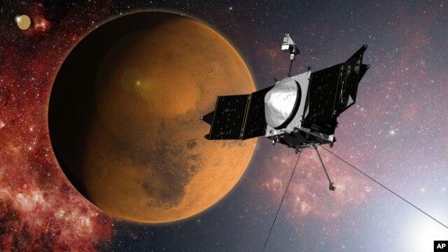 Ảnh do NASA cung cấp mô tả tàu vũ trụ MAVEN  tiếp cận sao Hỏa.