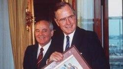 President George Bush and Soviet President Mikhail Gorbachev in Helsinki, Finland, in 1990