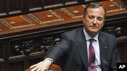 Italian Foreign Minister Franco Frattini at the lower chamber of the deputies in Rome, June 21, 2011
