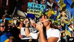 Ukrajinci u Londonu protestuju zbog aneksije Krima