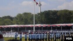 Upacara Peringatan Hari Kemerdekaan RI ke-68 di Istana Merdeka Jakarta dengan Inspektur upacara Presiden RI SBY (VOA/Andylala).