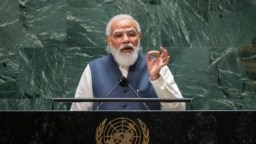 India's Prime Minister Narendra Modi addresses the 76th Session of the U.N. General Assembly at United Nations headquarters in New York City, Sept. 25, 2021.