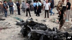 14일 바그다드 인근에서 발생한 차량 폭탄 공격 현장. (자료사진)